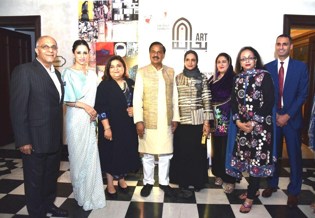 Union Culture Minister Mahesh Sharma, Director of the office of Wife of the King of Bahrain Shaikha Maram Bint Isa Al Khalifa, ArtBAB Fair Programme Director Kaneka Subberwal, DLF CEO ... - Mahesh Sharma