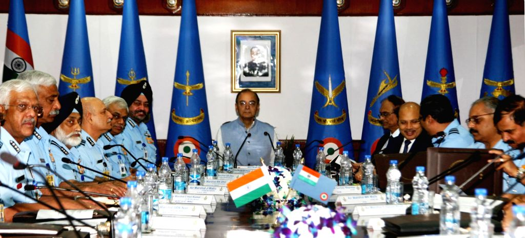 Union Defence Minister Arun Jaitley interacts with the Air Force Commanders, during the inauguration of the Air Force Commanders' Conference, in New Delhi on April 19, 2017. - Arun Jaitley