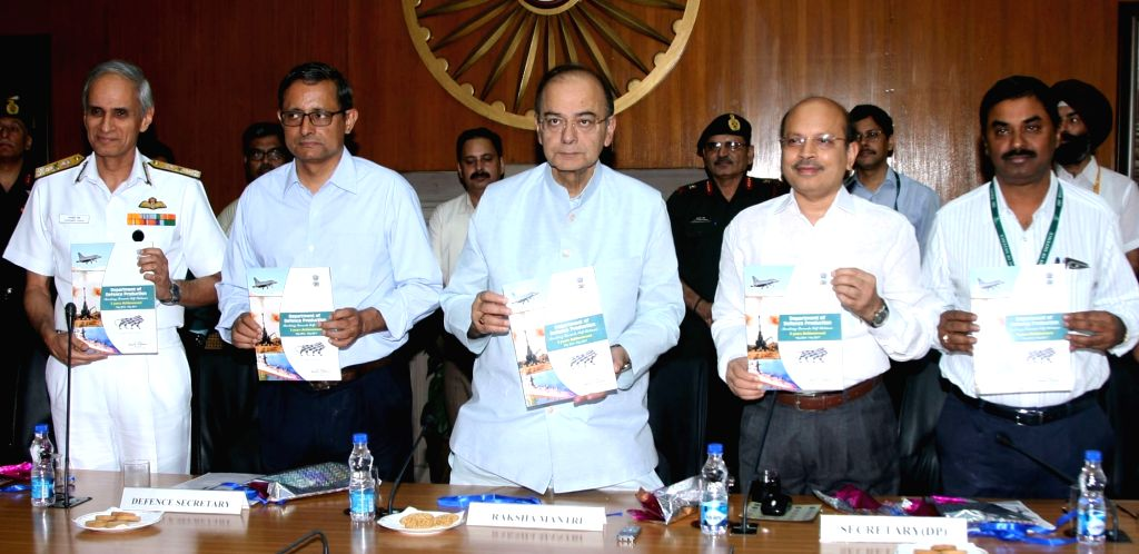 Union Defence Minister Arun Jaitley releases a booklet 'Marching Towards Self-Reliance: 3 Years Achievement' in New Delhi on July 6, 2017. Also seen Naval Staff Vice Chief, Vice Admiral ... - Arun Jaitley, Admiral Karambir Singh, Ashok Kumar Gupta and G Satheesh Reddy