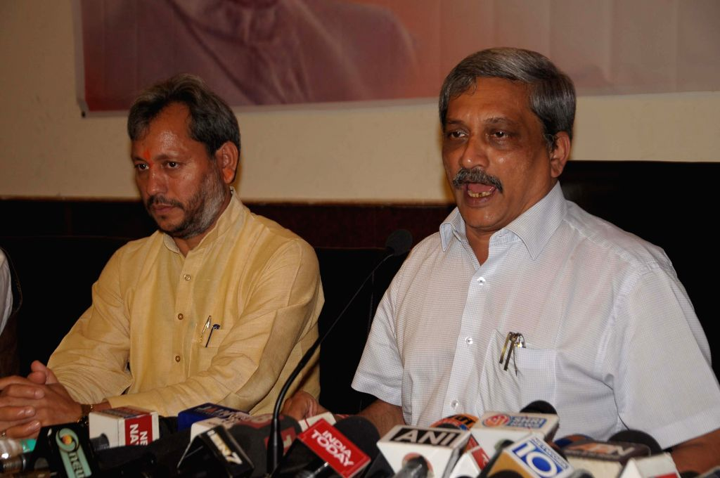 Union Defence Minister Manohar Parrikar addresses a press conference in Dehradun on Aug 14, 2015.