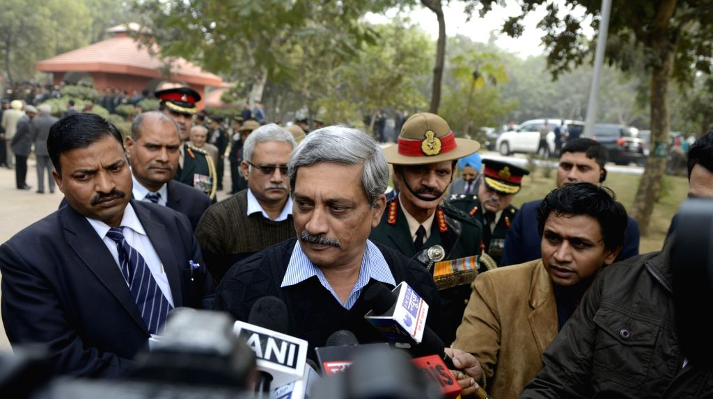 Union Defence Minister Manohar Parrikar arrives to pay tribute to Lt Gen JFR Jacob who passed away on 13th Jan 2016, in New Delhi, on Jan 14, 2016. - Manohar Parrikar
