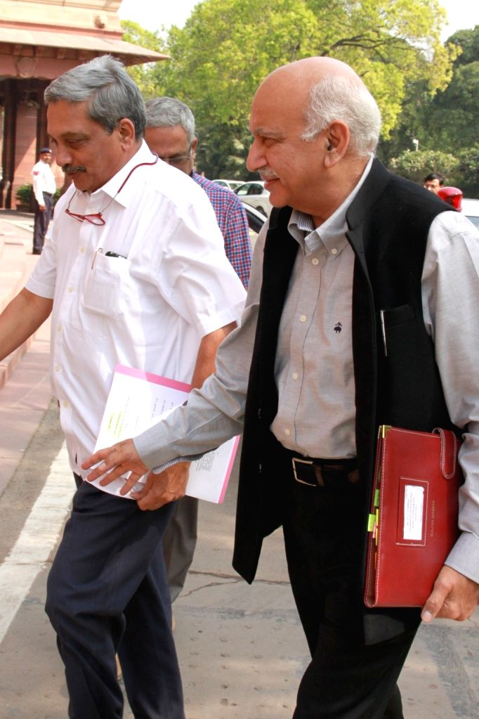 Union Defence Minister Manohar Parrikar arrives to attend the second phase of Budget Session of the Parliament, in New Delhi on March 9, 2017. - Manohar Parrikar