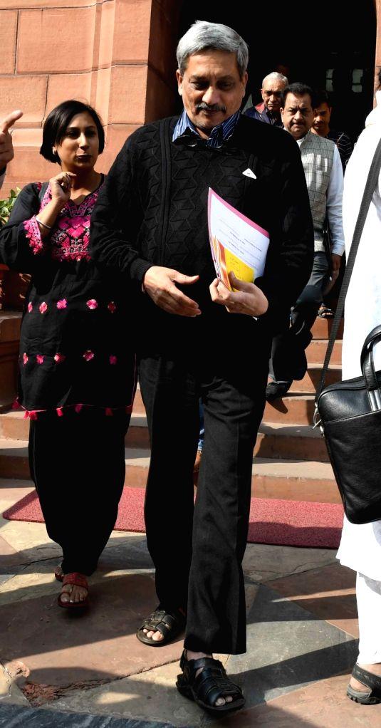 Union Defence Minister Manohar Parrikar at the Parliament in New Delhi on Nov 29, 2016. - Manohar Parrikar