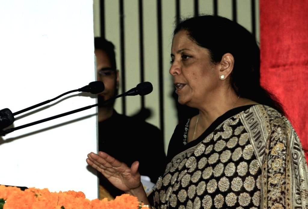 Union Defence Minister Nirmala Sitharaman addresses during a felicitation ceremony at St. Marry's convent school in Kasauli, Himachal Pradesh on Sept 16, 2017. - Nirmala Sitharaman