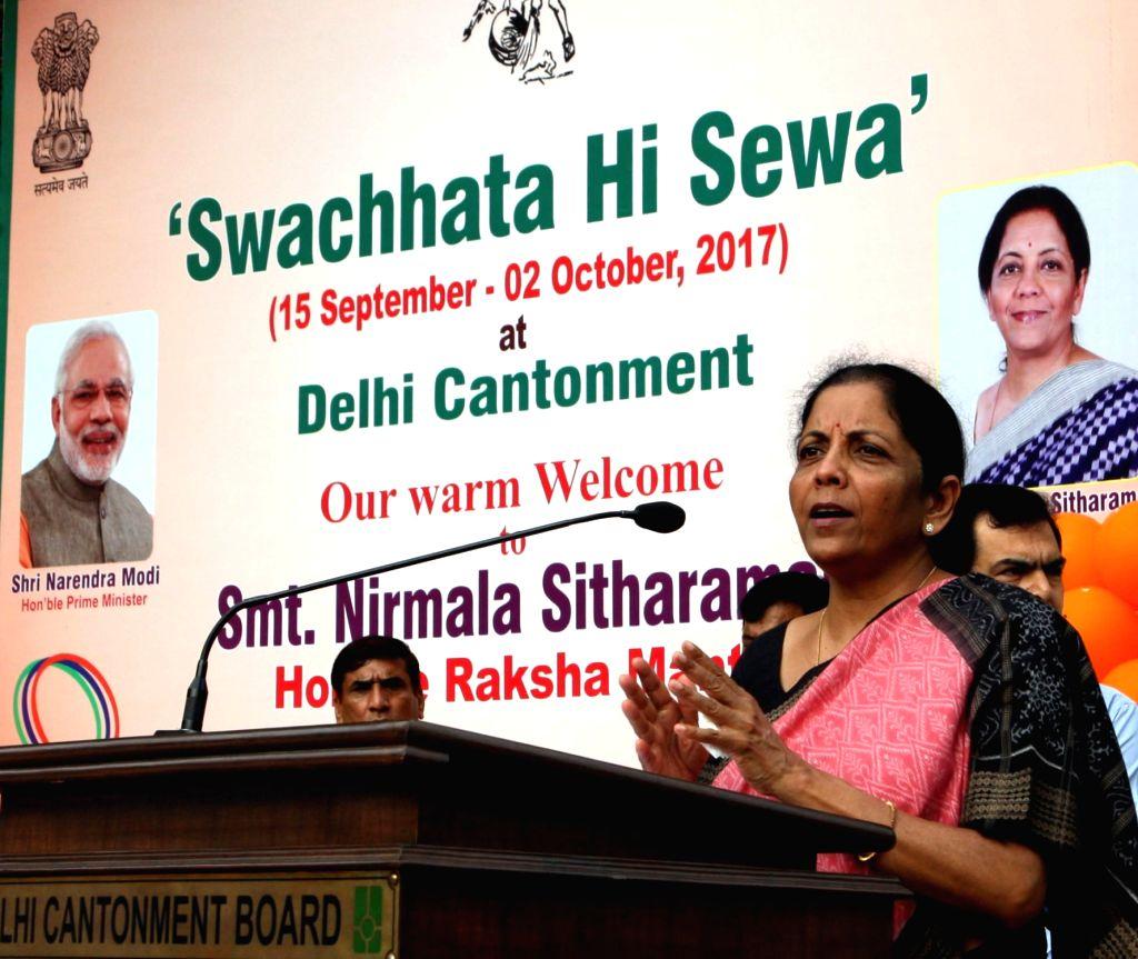 Union Defence Minister Nirmala Sitharaman addresses a gathering during the launch of 'Swachhta Hi Sewa' campaign at Delhi Cantonment on Sept 17, 2017. - Nirmala Sitharaman