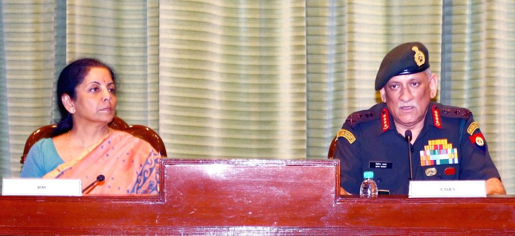 Union Defence Minister Nirmala Sitharaman and the Chief of Army Staff General Bipin Rawat during the Army Commanders' Conference in New Delhi on Oct 10, 2017. - Nirmala Sitharaman