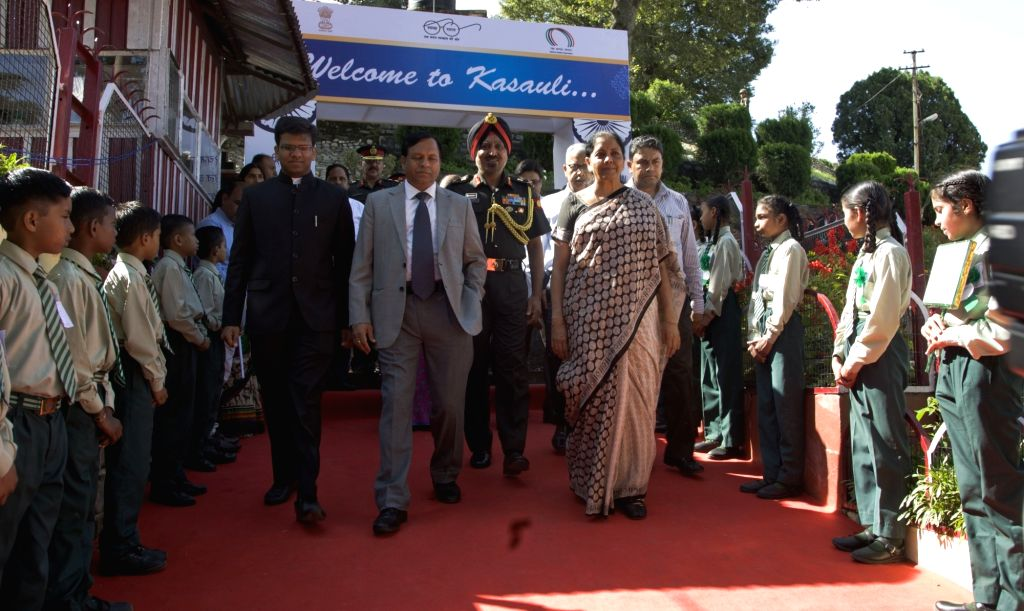 Union Defence Minister Nirmala Sitharaman arrives to attend a felicitation ceremony at St. Marry's convent school in Kasauli, Himachal Pradesh on Sept 16, 2017. Also seen Defence Estates ... - Nirmala Sitharaman and Jojneswar Sharma
