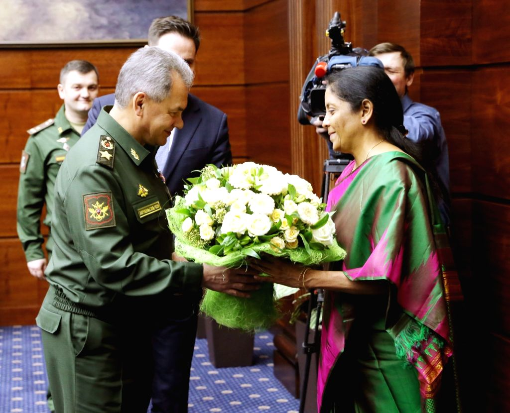 Union Defence Minister Nirmala Sitharaman being welcomed by Russian Defence Minister, General Sergey Shoygu on her visit to Russian Federation, in Moscow on April 4, 2018. - Nirmala Sitharaman