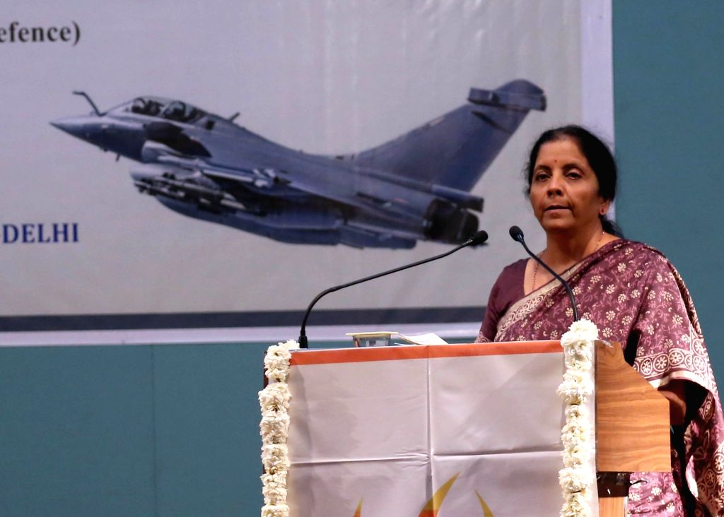 Union Defence Minister Nirmala Sitharaman during a programme in Ahmedabad on Feb 23, 2019. - Nirmala Sitharaman