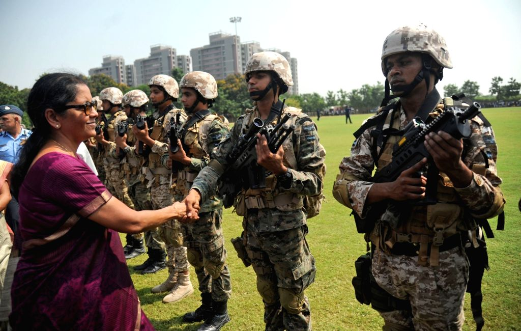 Union Defence Minister Nirmala Sitharaman meets with the Garud Commando Force of Indian Air Force during 'Know Your Air Force' program in Ahmedabad on Oct 6, 2017. - Nirmala Sitharaman