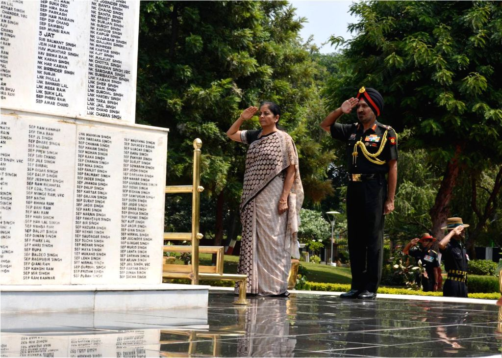 Union Defence Minister Nirmala Sitharaman pays homage to the brave martyrs at Veer Smriti on her visit to Headquarters Western Command, Chandimandir Military Station in Chandigarh on Sept ... - Nirmala Sitharaman