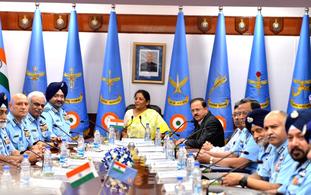 Union Defence Minister Nirmala Sitharaman with Chief of the Air Staff, B.S. Dhanoa at Air Force Commanders Conference in New Delhi on May 31, 2018. - Nirmala Sitharaman