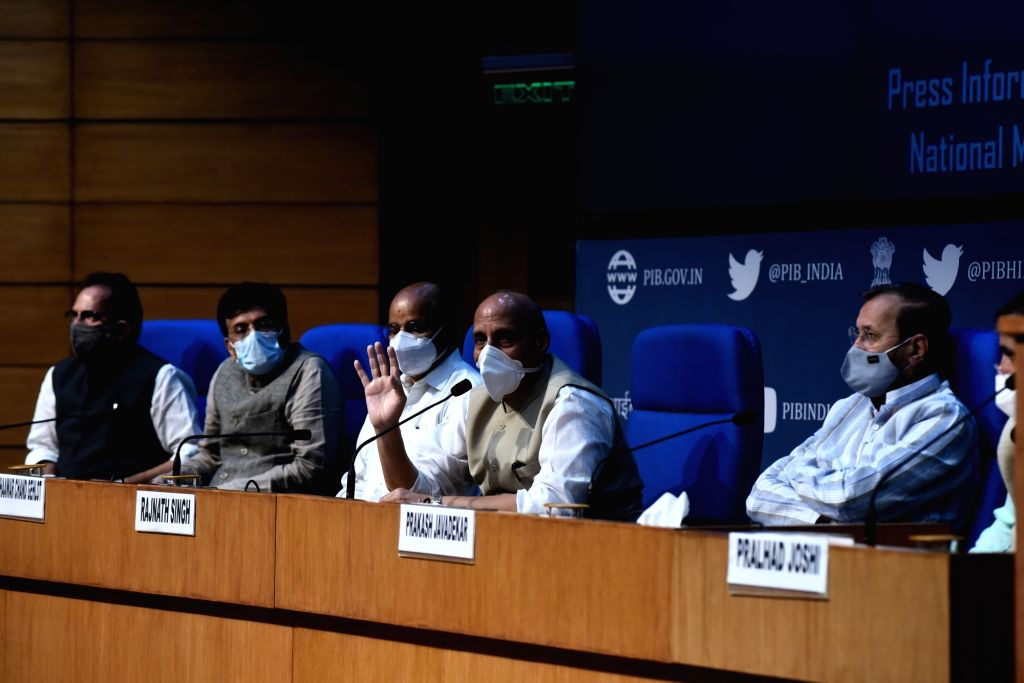 Union Defence Minister Rajnath Singh addresses a press conference at National Media Center in New Delhi on September 20, 2020. - Rajnath Singh
