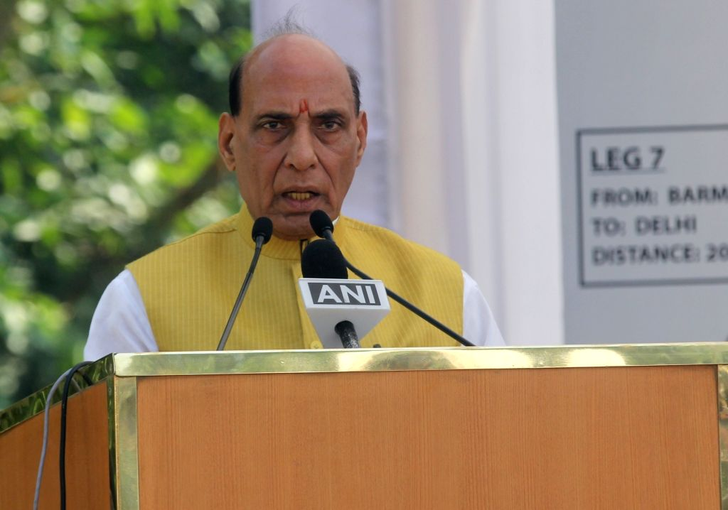 Union Defence Minister Rajnath Singh during flag off ceremony of the Border Road Organization (BRO) Motorcycle Expedition in New Delhi on Thursday October 14,2021,. - Rajnath Singh
