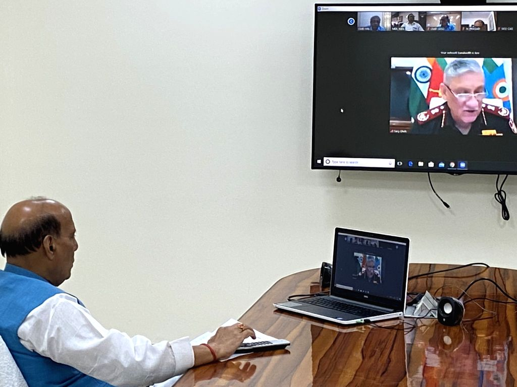 Union Defence Minister Rajnath Singh during video conference. - Rajnath Singh