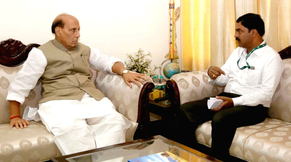 Union Defence Minister Rajnath Singh meets Secretary, Department of Defence Research and Development, Chairman, Defence Research and Development Organisation (DRDO) and Director General, ... - Rajnath Singh and G. Satheesh Reddy