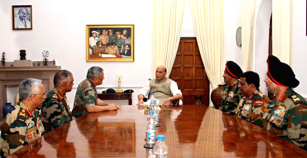 Union Defence Minister Rajnath Singh meets Chief of the Army Staff, General Bipin Rawat, the Vice Chief of the Army Staff, Lieutenant General Devraj Anbu and all the GOC-in-Cs  in New ... - Rajnath Singh