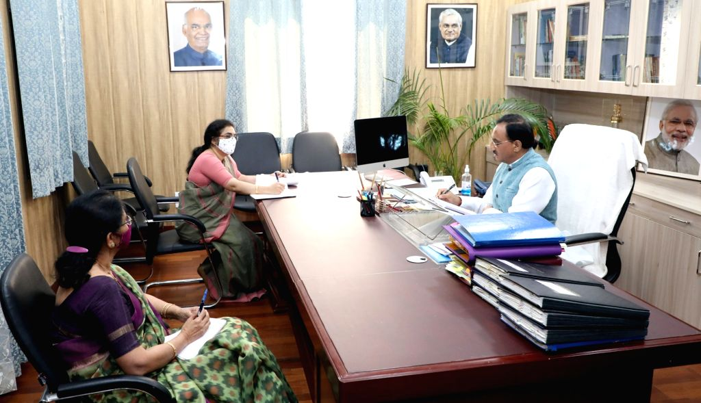 Union Education Minister Ramesh Pokhriyal ???Nishank??? holds a review meeting with the Kendriya Vidyalaya Sangathan officials, in New Delhi on Oct 28, 2020. - Ramesh Pokhriyal