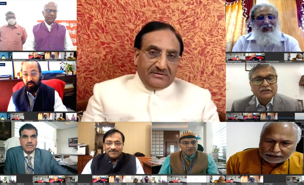 Union Education Minister Ramesh Pokhriyal ???Nishank??? virtually addresses at the inauguration of the 46 online ATAL Faculty Development Programmes (FDPs), organised by the All India ... - Ramesh Pokhriyal