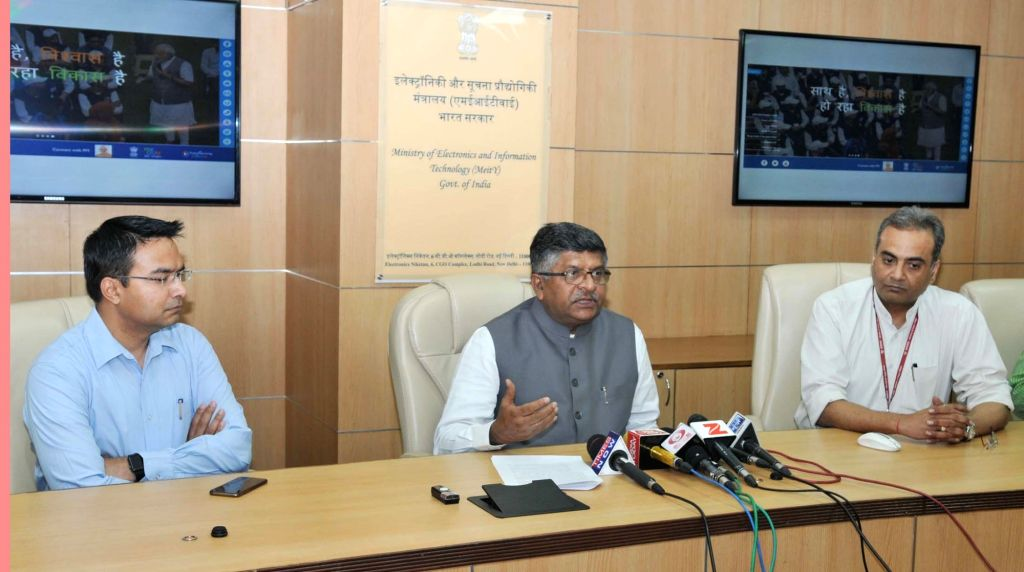 Union Electronics and Information Minister Ravi Shankar Prasad addresses at launch of a website on 'Three Years of NDA Government' in New Delhi on May 29, 2017. - Ravi Shankar Prasad
