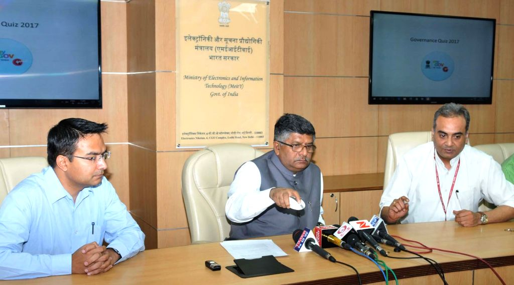 Union Electronics and Information Minister Ravi Shankar Prasad launches a website on 'Three Years of NDA Government' in New Delhi on May 29, 2017. - Ravi Shankar Prasad
