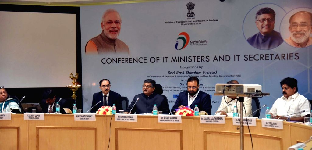 Union Electronics and Information Technology Minister Ravi Shankar Prasad, Ministry of Electronics and Information Technology Secretary Ajay Prakash Sawhney and other officials during the ... - Ravi Shankar Prasad and Conclave