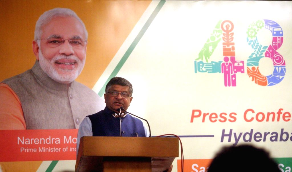 Union Electronics and Information Technology Minister Ravi Shankar Prasad addresses a press conference on '8 Months Of Transforming India', in Hyderabad on May 31, 2018. - Ravi Shankar Prasad