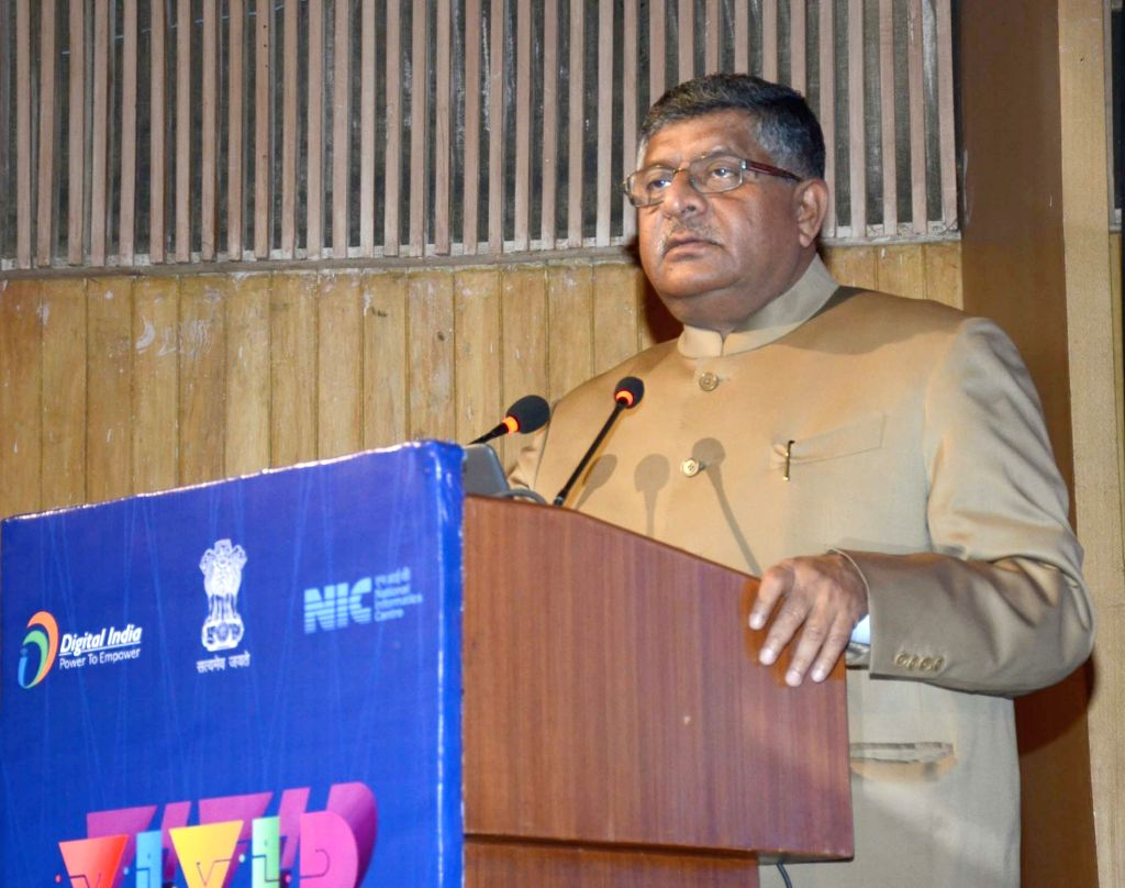 Union Electronics and Information Technology Minister Ravi Shankar Prasad addresses at the VIVID – Vision Insight and Voices of India Going Digital, in New Delhi, on Feb 21, 2019. - Ravi Shankar Prasad