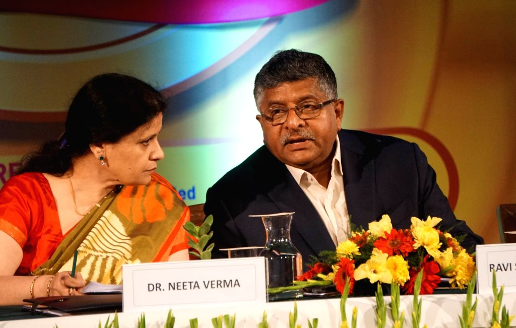 Union Electronics and Information Technology Minister Ravi Shankar Prasad and National Informatics Centre (NIC) Director General Neeta Verma during the Digital India Awards 2019, in New ... - Ravi Shankar Prasad and Neeta Verma