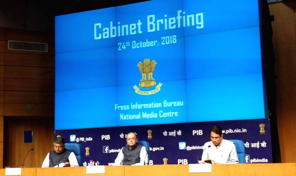 Union Electronics and Information Technology and Law and Justice Minister Ravi Shankar Prasad and Union Finance and Corporate Affairs Minister Arun Jaitley during a press conference in New ... - Ravi Shankar Prasad and Arun Jaitley