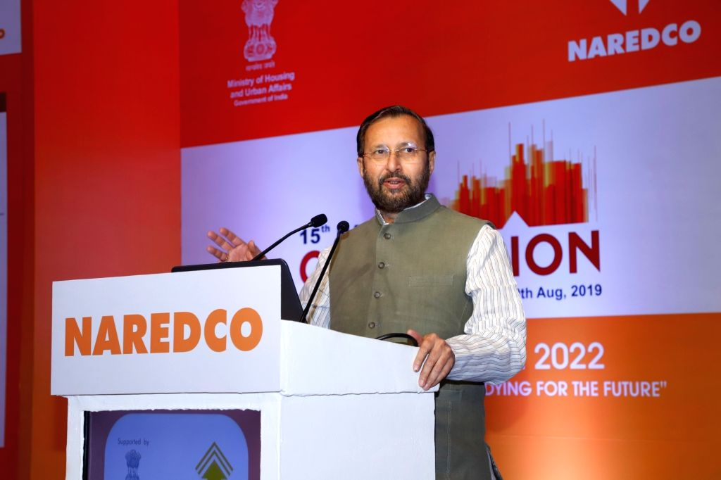 Union Environment and Forests Minister Prakash Javadekar addresses at 15th National Convention of National Real Estate Development Council (NAREDCO), in New Delhi on Aug 19, 2019. - Prakash Javadekar