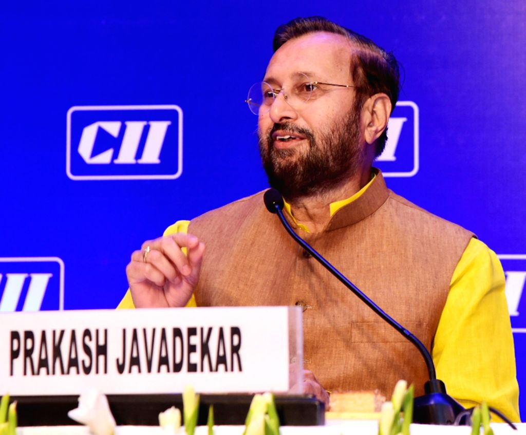 Union Environment, Forest and Climate Change and Information and Broadcasting Minister Prakash Javadekar addresses the National Council Meeting of Confederation of Indian Industry (CII), ... - Prakash Javadekar
