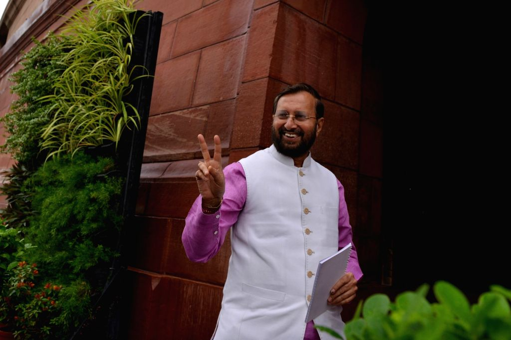 Union Environment, Forest and Climate Change and Information and Broadcasting Minister Prakash Javadekar at Parliament in New Delhi on July 18, 2019. - Prakash Javadekar