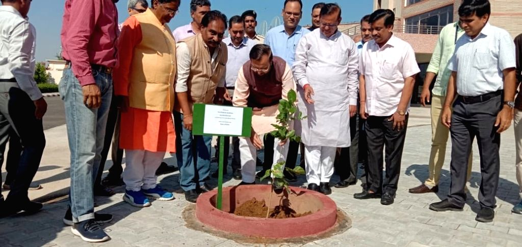 Union Environment, Forest and Climate Change and Information and Broadcasting Minister Prakash Javadekar plants a sapling at the campus of Malaviya National Institute of Technology in Jaipur, ... - Prakash Javadekar