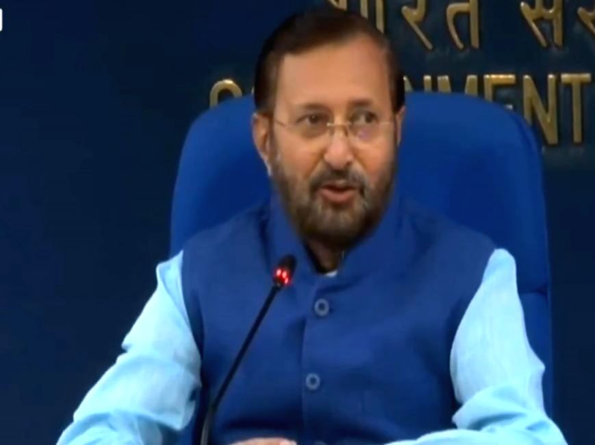 Union Environment, Forest and Climate Change and Information and Broadcasting Minister Prakash Javadekar addresses at a Cabinet Briefing at Shastri Bhawan in New Delhi on Oct 9, 2019. - Prakash Javadekar