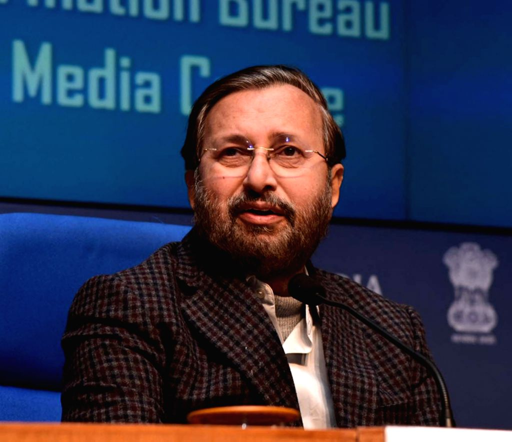 Union Environment, Forest and Climate Change and Information and Broadcasting Minister Prakash Javadekar briefs the media on various Cabinet decisions, in New Delhi on Jan 29, 2020. - Prakash Javadekar
