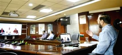 """Union Environment, Forest & Climate Change, Information & Broadcasting and Heavy Industries and Public Enterprise Minister Prakash Javadekar addresses a webinar on """"National ... - Prakash Javadekar"""