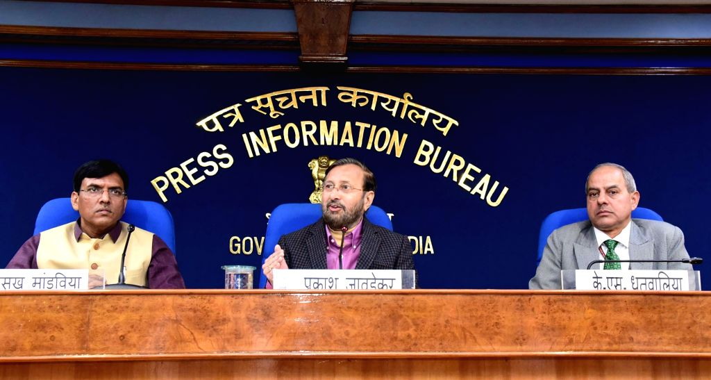 Union Environment, Forest & Climate Change, Information & Broadcasting and Heavy Industries and Public Enterprise Minister Prakash Javadekar accompanied by Union MoS Shipping ... - Prakash Javadekar