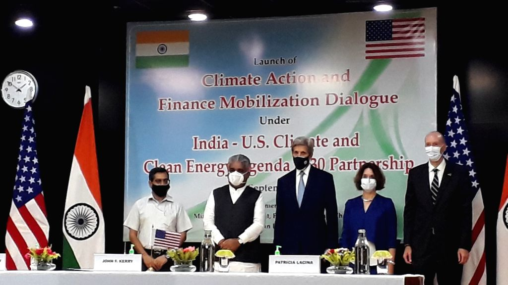 Union Environment Minister Bhupender Yadav and US Presidential Envoy for Climate Change John Kerry at the India and US to launch the Climate Action and Finance Mobilization Dialogue on Monday at New Delhi. - Bhupender Yadav