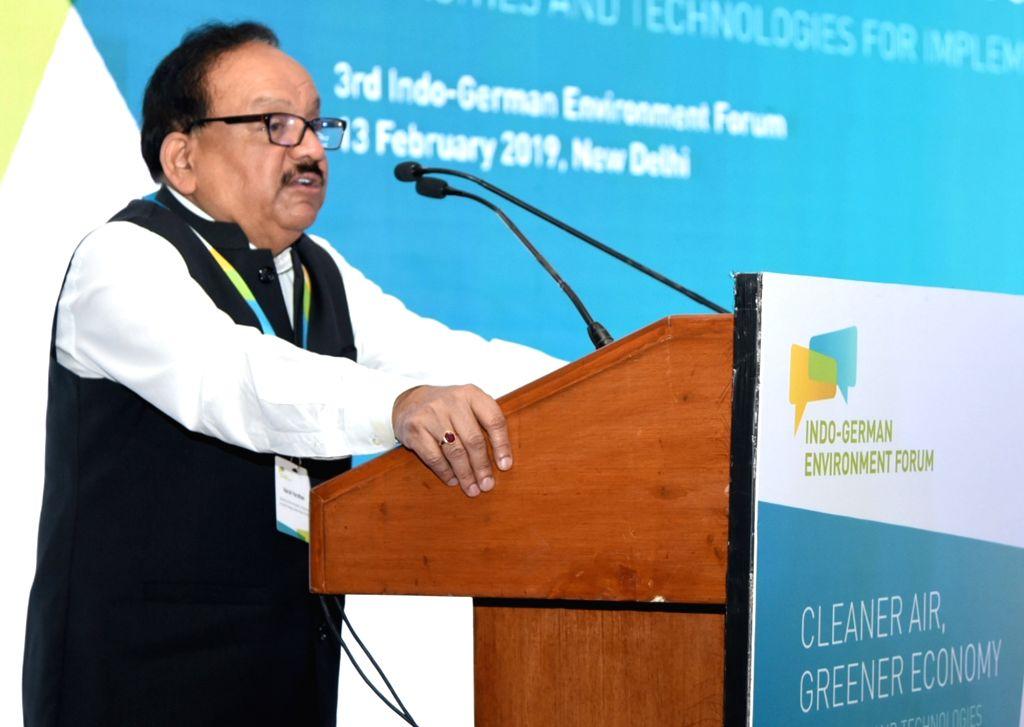 Union Environment Minister Harsh Vardhan addresses at the 3rd Indo-German Environment Forum, in New Delhi, on Feb 13, 2019. - Harsh Vardhan