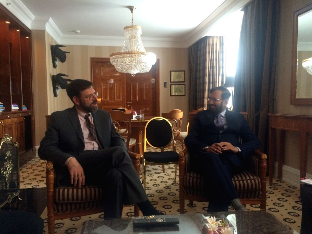 Union Environment Minister  Prakash Javadekar meets US Special Envoy for Climate Change Jonathan Pershing on the sidelines of the Seventh St. Petersburg Climate Dialogue in Berlin, Germany. - Prakash Javadekar