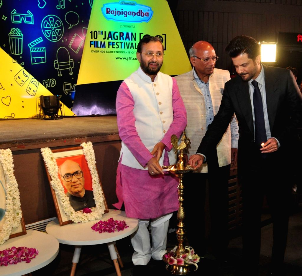 Union Environment Minister Prakash Javadekar and actor Anil Kapoor during inauguration of 10th Jagran Film Festival (JFF) in New Delhi on July 18, 2019. - Prakash Javadekar and Kapoor