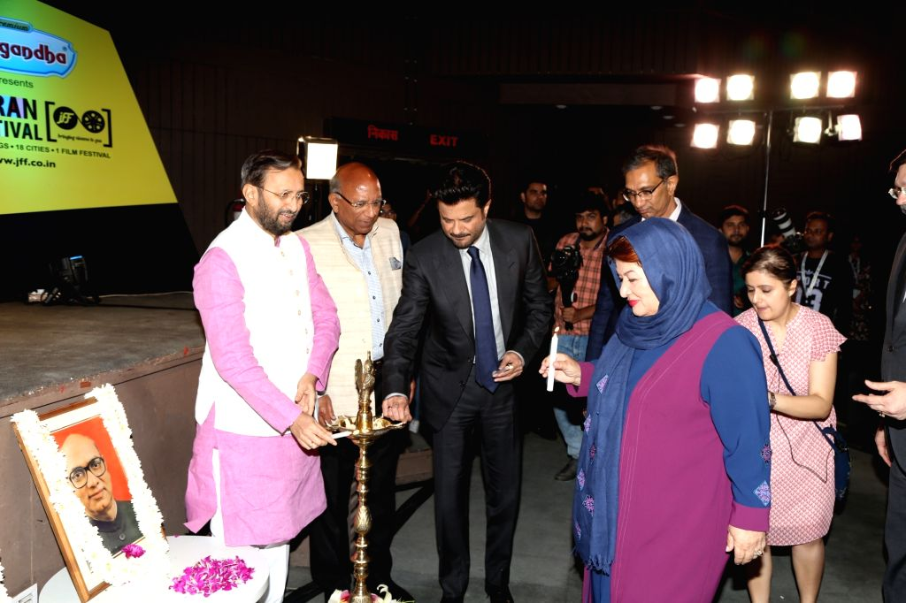 Union Environment Minister Prakash Javadekar and actor Anil Kapoor during the inauguration of the 10th Jagran Film Festival (JFF) in New Delhi on July 18, 2019. - Prakash Javadekar and Kapoor