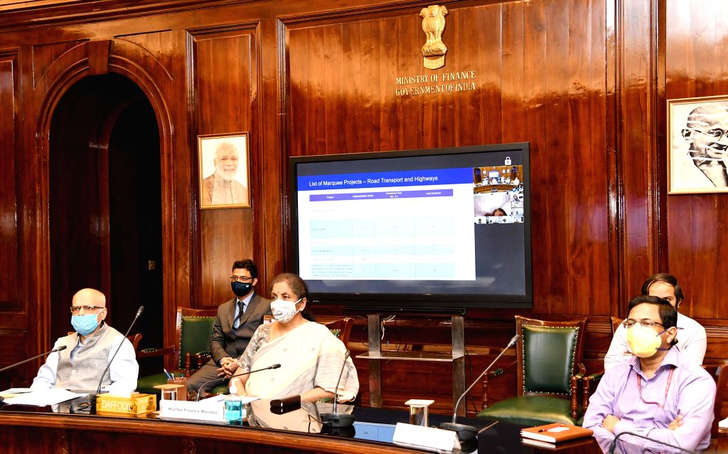 Union Finance and Corporate Affairs Minister Nirmala Sitharaman launches the National Infrastructure Pipeline (NIP) Online Dashboard, through video conferencing, in New Delhi on Aug 10, ... - Nirmala Sitharaman