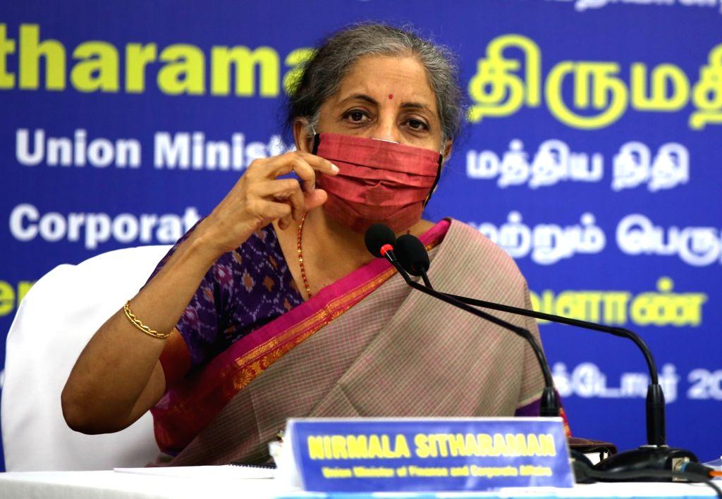 Union Finance and Corporate Affairs Minister Nirmala Sitharaman addresses a press conference, in Chennai on Oct 6, 2020. - Nirmala Sitharaman
