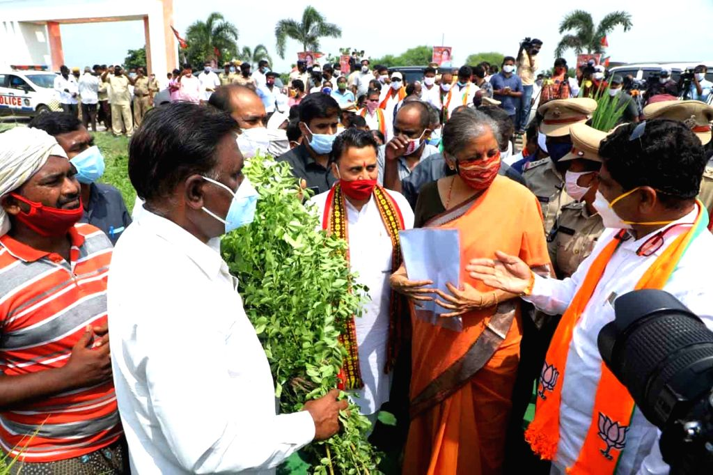 Union Finance and Corporate Affairs Minister Nirmala Sitharaman made a brief visit to a farm in Jakkula Nekkalam village in Krishna district of Andhra Pradesh while on her way to Vijayawada ... - Nirmala Sitharaman