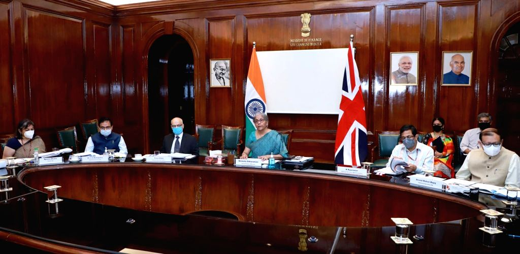 Union Finance and Corporate Affairs Minister Nirmala Sitharaman participates in the 10th India-UK Economic and Financial Dialogue (EFD) through video conferencing, in New Delhi on Oct 28, ... - Nirmala Sitharaman
