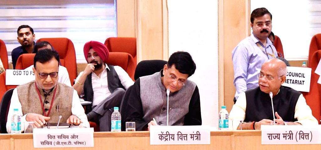Union Finance and Corporate Affairs Minister Piyush Goyal chairs the 28th GST Council meeting along with Union MoS Finance Shiv Pratap Shukla and Finance Secretary Hasmukh Adhia, in New ... - Piyush Goyal