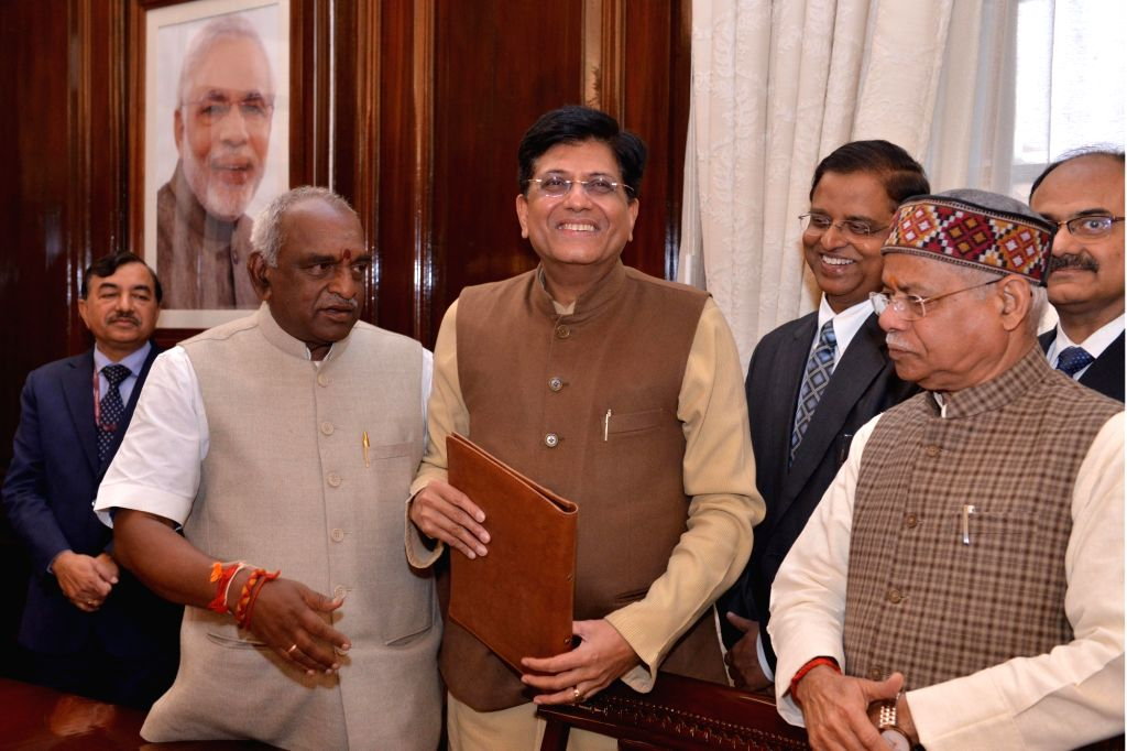 Union Finance and Corporate Affairs Minister Piyush Goyal arrives to give final touches to 2019-20 Budget papers in New Delhi, on Jan 31, 2019. - Piyush Goyal