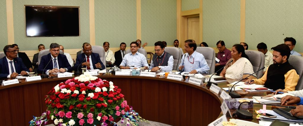 Union Finance and Corporate Affairs Minister Nirmala Sitharaman chairs the Pre-Budget consultation with representatives from Financial Sector and Capital Markets, in New Delhi on June 13, ... - Nirmala Sitharaman